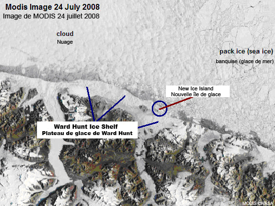 MODIS image of Ward Hunt Ice Shelf
